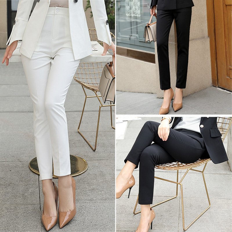 2018 New Women Formal Solid Color Business Suit Ankle Length Pants / Women Slim Dress Business Casual Ankle Length Pants