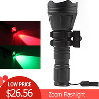 Torches B158 Convex Lens Zoom Flashlight LED Torch Hunting Light Aluminum Self Defense Tactical Flashlight Red Green