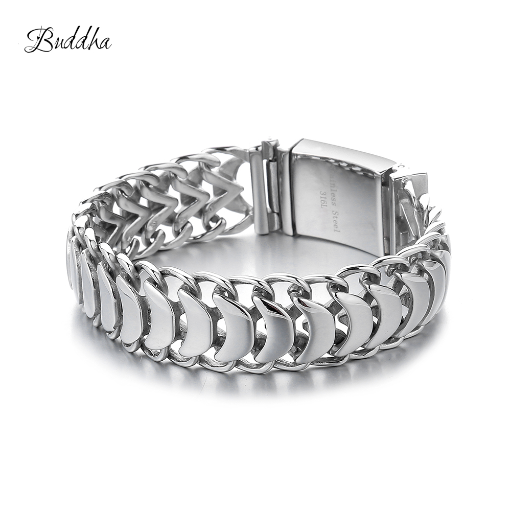 20mm Heavy Mens Buddha Bracelet Curb Cuban Link Silver Color 316L Stainless Steel Wristband Male Jewelry with Logo20mm Heavy Mens Buddha Bracelet Curb Cuban Link Silver Color 316L Stainless Steel Wristband Male Jewelry with Logo
