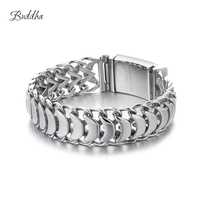 20mm Heavy Men's Buddha Bracelet Curb Cuban Link Silver Color 316L Stainless Steel Wristband Male Jewelry with Logo