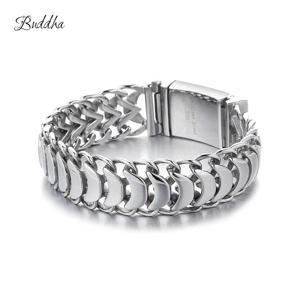 Bracelet bouddha pour hommes lourds 20mm Bracelet cubain en acier inoxydable 316L couleur argent avec Logo