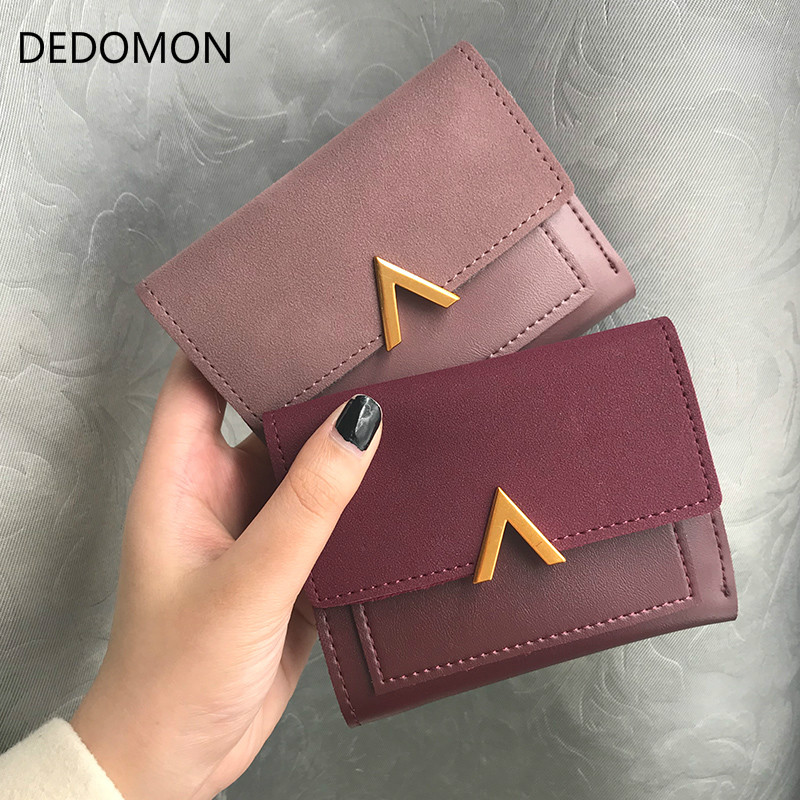 все цены на Matte 2018 Wallet Women Leather Small Zipper Female Coin Purse Slim Short Womens Wallets And Purses For Credit Card Holder Hasp