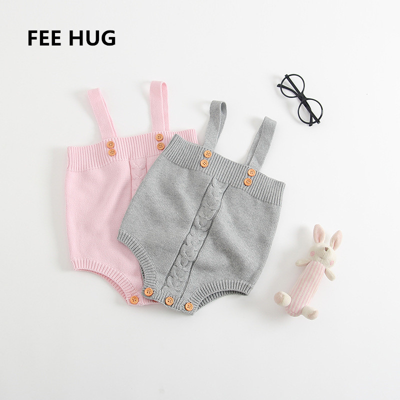 50d5d5381cf4 Online Shop FEE HUG Baby Girls Knitted Woolen Rompers Toddler Infant  One-Piece Strap Jumpsuits Kids Girls Overalls Pants Outwear