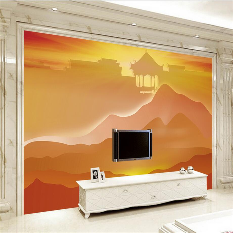 3d Wallpaper Hand Painted Sunset Wall Mural Wallpaper Modern 3d Wallpaper for Living Room Bedroom Wall Mural for Living Room shinehome sunflower bloom retro wallpaper for 3d rooms walls wallpapers for 3 d living room home wall paper murals mural roll