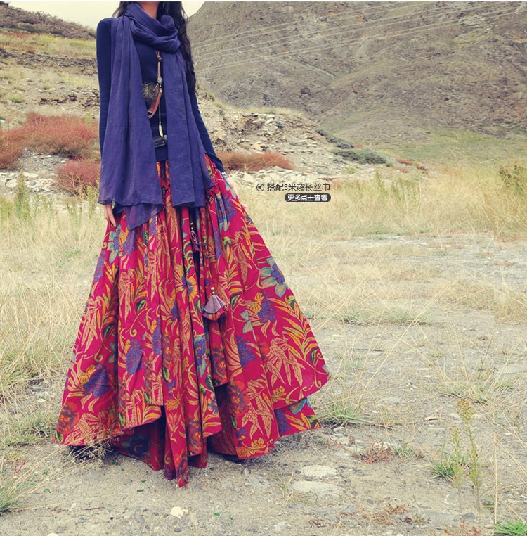 a42fcac77d Top Sale Long Flowing Thick Cotton Multicolor Print Skirts Bohemia ...