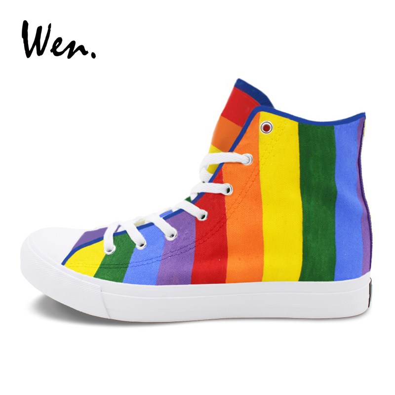 Wen Original Design Rainbow Hand Painted Shoes Woman Canvas Sneakers Color Drawing Colorful Skateboarding Shoes for Man wen original hand painted shoes design rainbow color heart pattern pink slip on canvas sneakers gifts for girls women