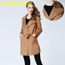 Brand cashmere coat lapel dress wear long sleeved wool woolen coat Female Fashion genuine female coat