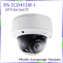 free shipping multi language version DS-2CD4124F-I 2MP IR Dome Smart IPC, Support Face Detection, ip carame,network camera