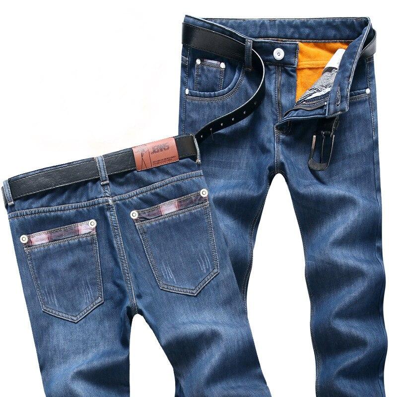 2019 Mens Winter Blue Fleece   Jeans   Lined Stretch Denim Warm   Jeans   For Men Designer Slim Fit bikrer youth   Jeans   28-38