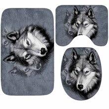 Wolf Printed Bath Mat 3pcs/set Bathroom Carpet Microfiber Mats For Bathroom Anti-slip Bathroom Floor Mat Bath Rugs