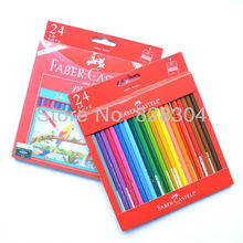 цена Free shipping pencil watercolor pencils colored pencils, Faber-Castell, 24pcs soluble in water, imported high-quality онлайн в 2017 году