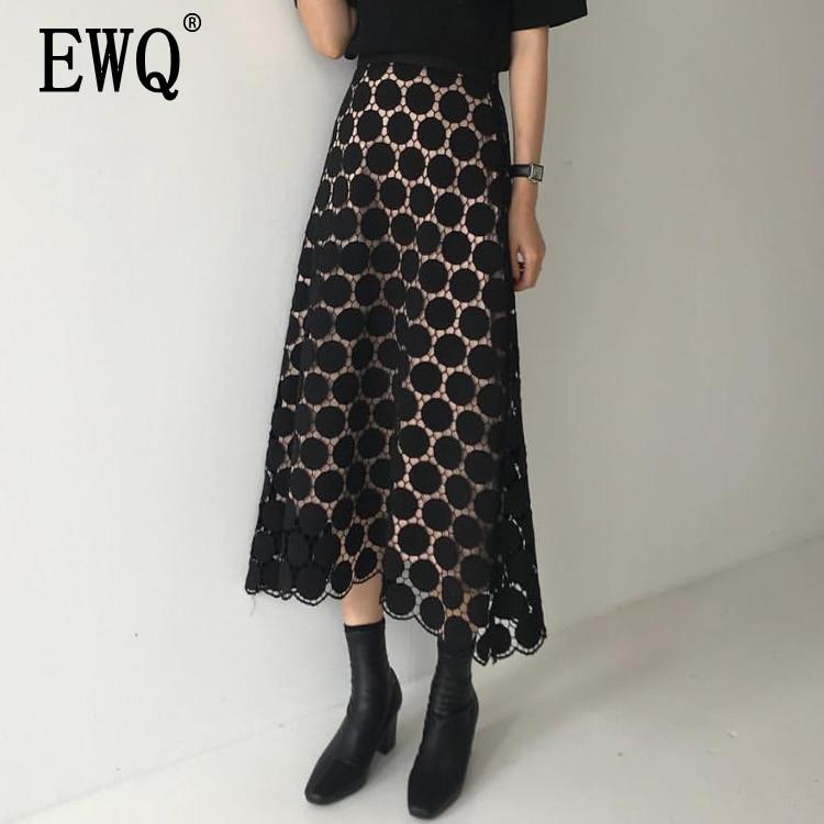 EWQ 2019 Spring Summer New Pattern High Waist Solid Patchwork Lace Dot Print Mesh Long
