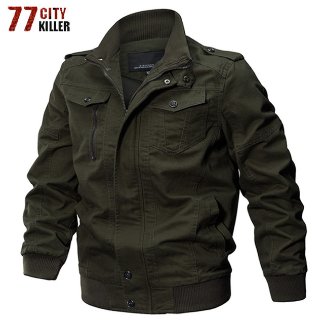 Mens Bomber Jackets Winter Cotton Casual Military Army Jacket Vintage Pilot Cargo Jackets Coats Windbreaker Men Brand Clothing