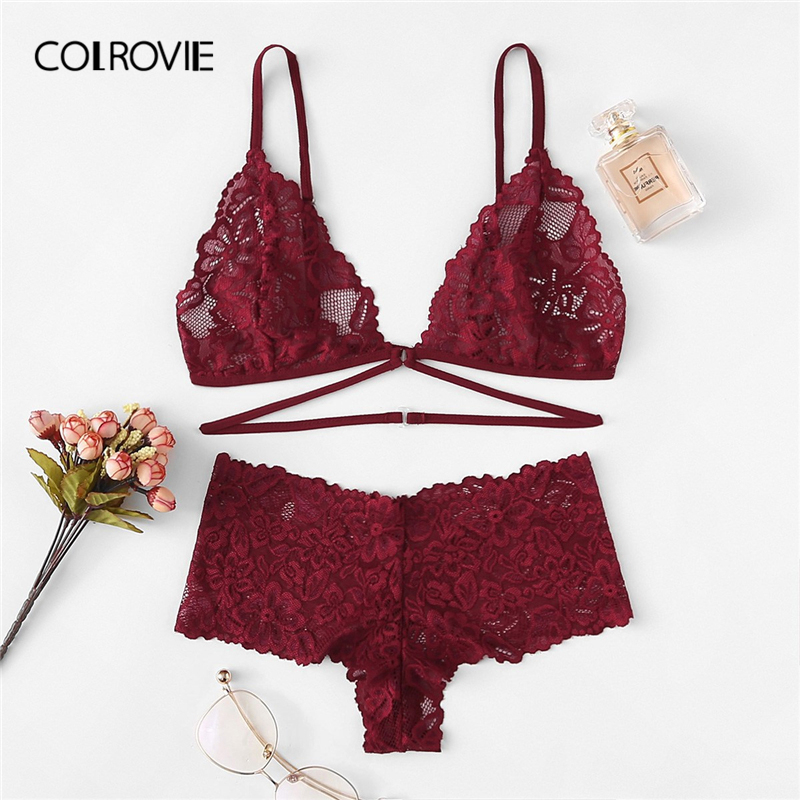 COLROVIE Burgundy Floral Lace Sexy Lingerie   Set   2019 New Fashion Women Wireless Transparent Underwear   Bra     Set   Female Intimates
