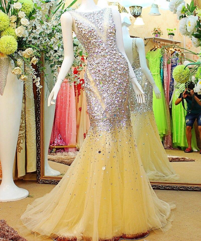 Custom Made 2015 New Luxury Sexy Mermaid Crystal   Dress   Muslim   Evening     Dress   Dubai Kaftan robe de soiree Formal   Dresses   XE9