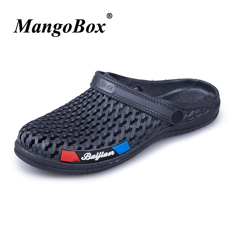 Hole Shoes Black Blue Man Sandals Summer Men Slippers Flat Lightweight Shoes Beach Anti-slip Men Casual Shoes Breathable Sandals