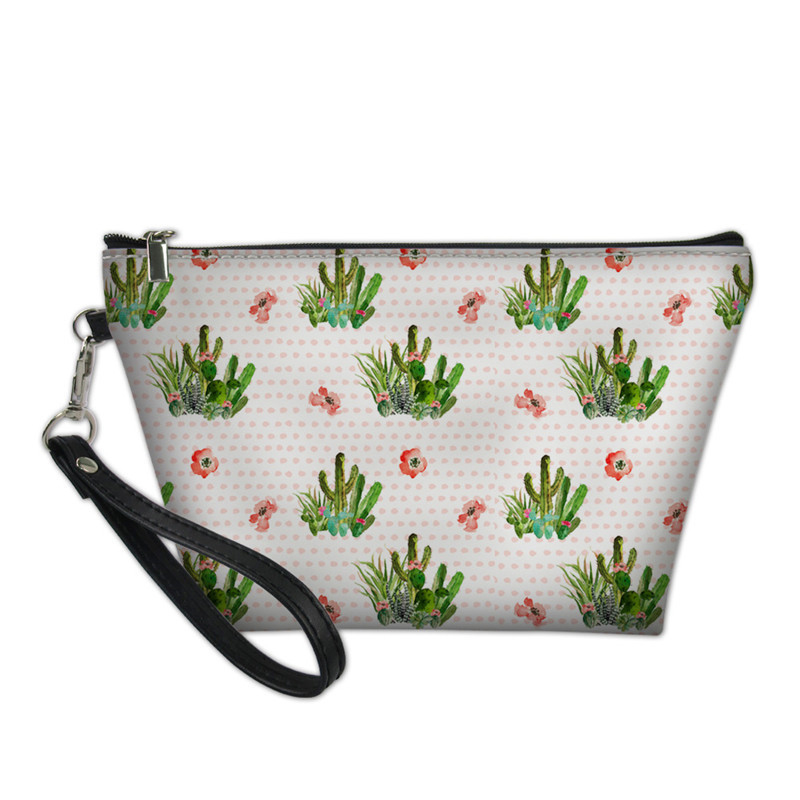 NOISYDESIGNS Western Flower Cactus Print Women's Makeup Cosmetic Bag Storage Pouch Toiletry Pencil Case Trousse Maquillage Femme