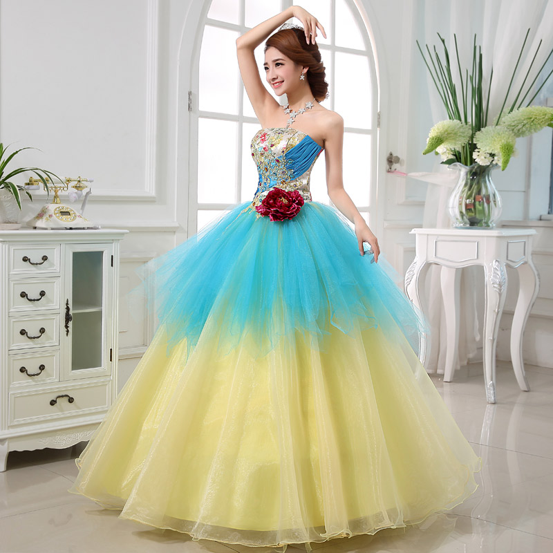 Colorful Organza Colored wedding dress
