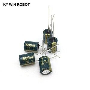 Image 3 - 10 قطع الألومنيوم مُكثَّف كهربائيًا 680 فائق التوهج 25 فولت 10*13mm frekuensi tinggi شعاعي كهربائيا kapasitor
