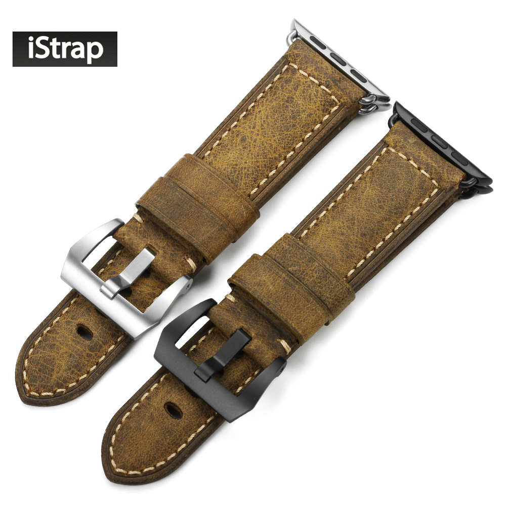 iStrap 42mm Vintage Band For Apple watch Assolutamente Leather Watch Strap For iWatch 42mm for Apple watch Series 1 and 2 24mm assolutamente genuine leather watch band strap