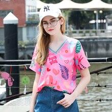 Tshirt 2019 Summer T Shirt Women Harajuku Loose Cartoon printing Short Sleeves T-shirts Fashion Movement Tops harajuku