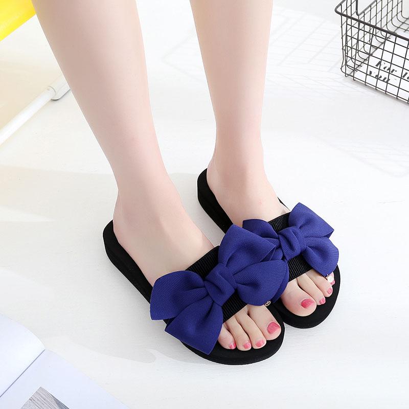2019 New Summer Flat Slippers Women Comfortable Non-slip Bowknot Pearls Flip Flops Female Beautiful Beach Slippers Sandals