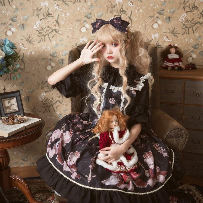 Principessa dolce lolita vestito di Estate e la primavera originale orso stampato vestito dalla cinghia tutti i giorni tutto fiammifero di modo del vestito delle donne ZJY157 - 3