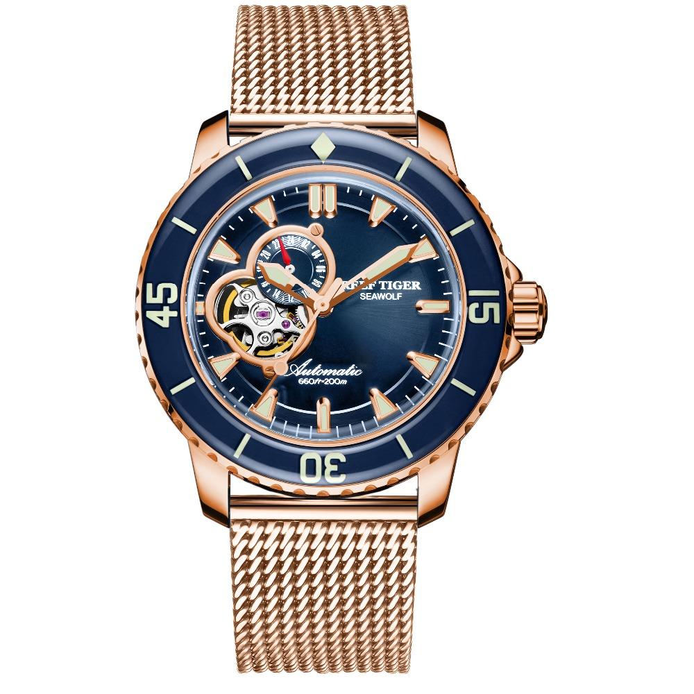 Reef Tiger RT Luxury Rose Gold Men Automatic Watch Sapphire Crystal Blue Troubillon Watches Date Water