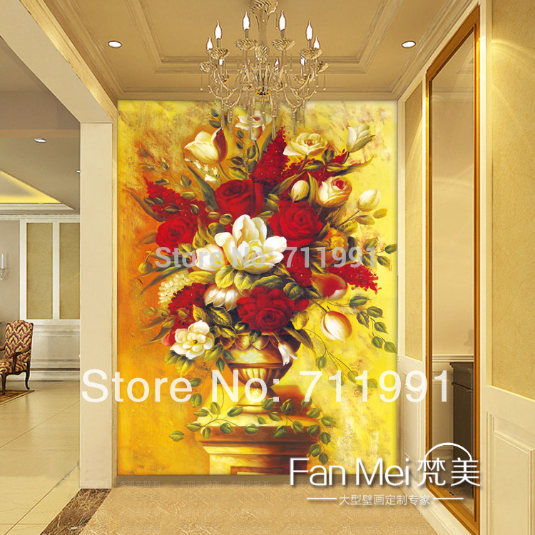 Free shipping custom 3D mural wallpaper dining room entrance hallway background wallpaper European paintings of flowers бюстгальтер women secret women secret wo004ewvja77