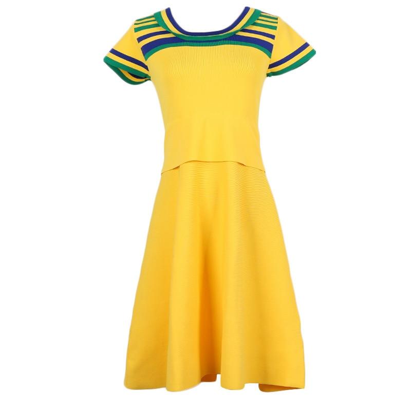 Makuluya Women's Fashion Casual Vintage High Street YELLOW Stripe Dresses High Quality All Match Chic Spring Summer Female QW