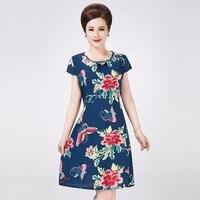 XL 5XL Vestidos 2016 Summer Style Plus Size Women Dress Vintage Printed Brand Flower Print Dress