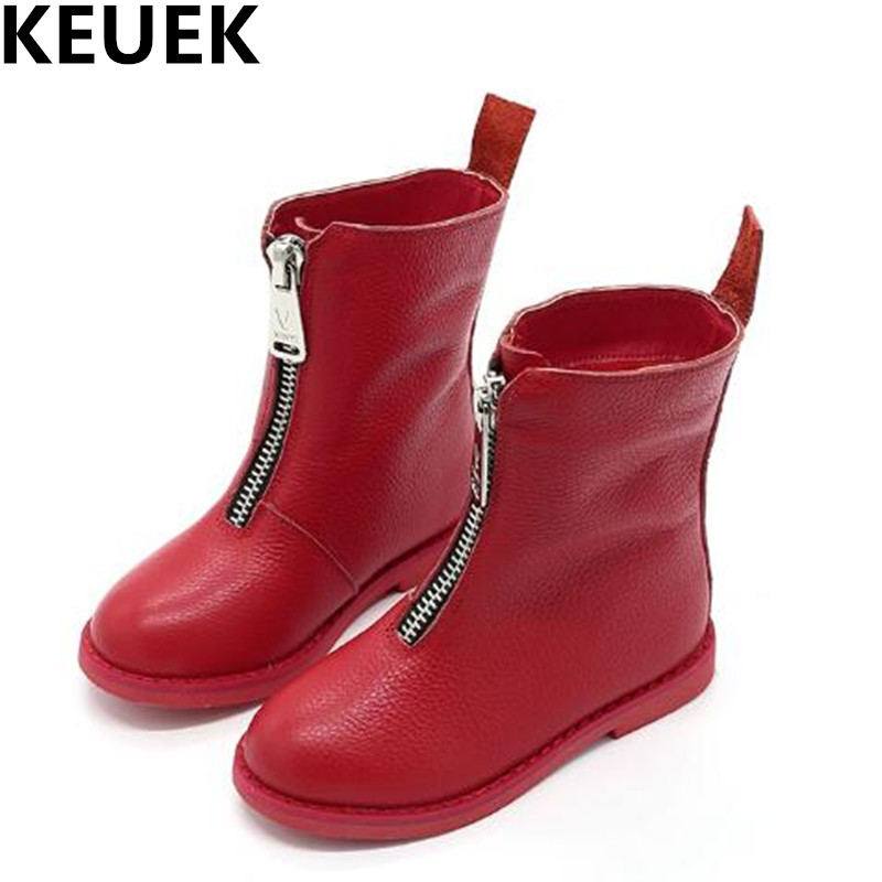 NEW Winter Girls Boots  Children Genuine Leather Mid-Calf High Boots Princess Snow Boots Warm Martin boots Kids Shoes Baby 044 kids shoes girls winter diamond bow toddler pu shoes children trainers baby shoes infantil princess warm shoes chaussure enfant