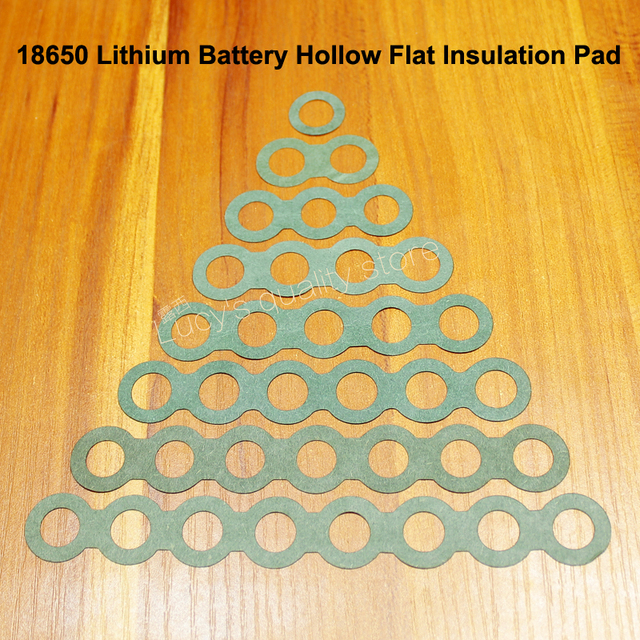 100 pçs/lote 18650 bateria de lítio positivo oco isolamento almofadas barris negativos concha verde acessórios meson