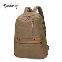RanHuang New 2017 Men's Canvas Backpack School Bags For Teenage Boys Laptop Backpack Large Travel Bags Men Vintage Backpack Gray
