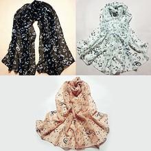 Women Soft Shawl Wrap Korean Style Music Note Printed Chiffon Silk Long Scarf