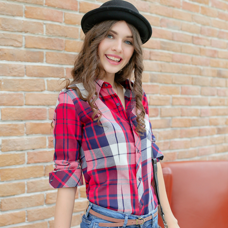 Xs-3xl New Women Shirt Spring 2019 Autumn Casual Loose Sanded Plaid Shirt Tops Girl Outerwear Cotton Shirt Female Free Shipping Women's Clothing