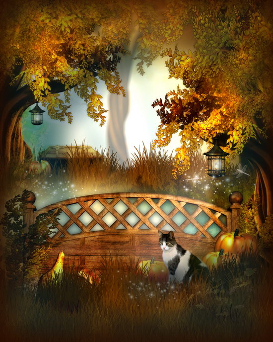 Golden leaves photography backdrop cat Halloween photo backgrounds for photo studio photographer props photophone allenjoy background for photo studio full moon spider black cat pumpkin halloween backdrop newborn original design fantasy props