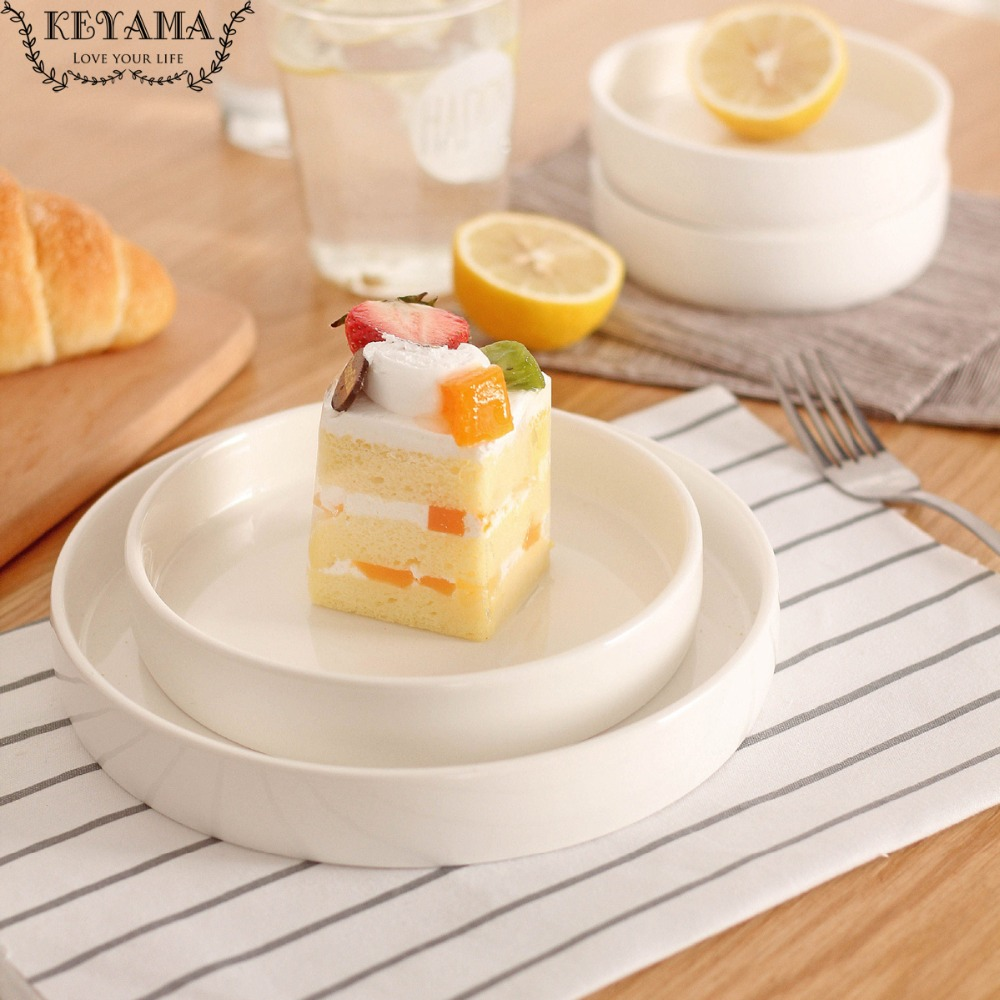 Plates Kitchen: 1 Pcs Solid White Round Ceramic Dinner Plates Salad Plate