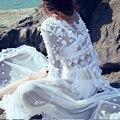 MX030 Nova Chegada do verão 2016 mulheres sexy ver através de vestido twinset 3d flor bordado laço longo maxi vestido de praia estilo