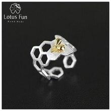 Lotus Fun Реальные Стерлингового Серебра 925 Природных Ручной Изящных Ювелирных Изделий Творческий Сотовые Открытое Кольцо Ополчение Кольца для Женщин Bijoux