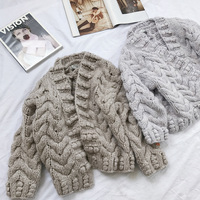 2018 Cardigan Women Sweater Pull Style Autumn winter Three dimensional Retro Hemp Coarse Woolen Yarn Women's Knitted Cardigan