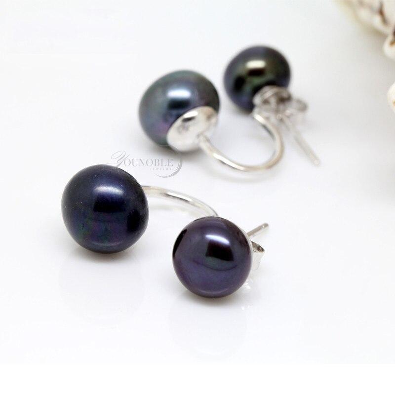 Echte natürliche Doppel Perle Ohrringe 925 Sterling Silber Schmuck, - Edlen Schmuck - Foto 3