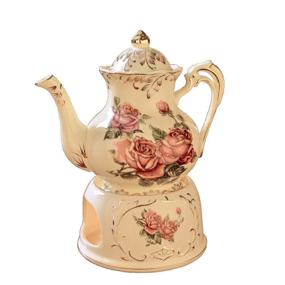 Théière chinoise avec base de chaleur utilisation générale bougie thé ensemble mode café bouilloire thermostat céramique chaude 900 ml théière