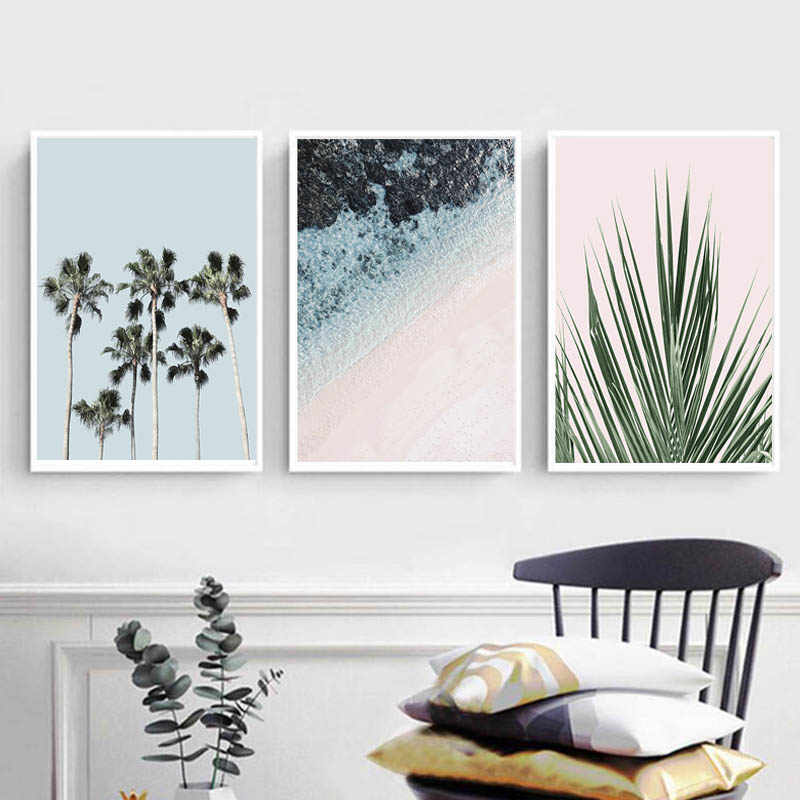 Tropical Palm Tree Wall Art Seascape Canvas Painting Green Leaf Posters and Prints Pictures for Living Room Decor Frameless
