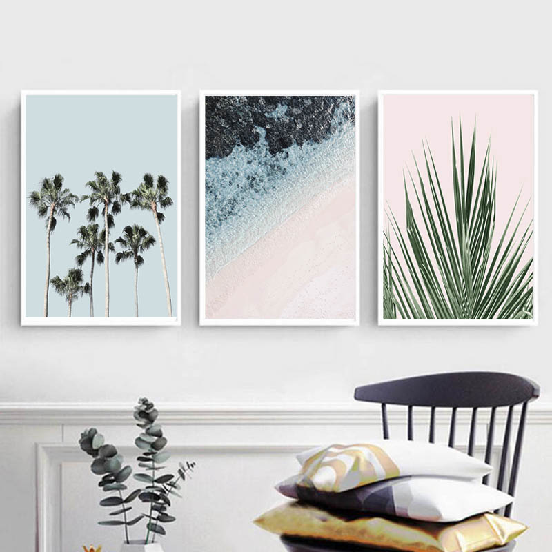 US $7.7 7% OFFTropical Palm Tree Wall Art Seascape Canvas Painting Green  Leaf Posters and Prints Pictures for Living Room Decor FramelessPainting