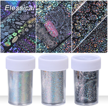 Elessical 8pcs/set 20cm*4cm Laser Transfer Nail Foil Unicorn Snowflake Sticker Holographic Flower Decals Art Decortion