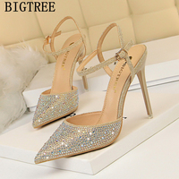 Extreme High Heels Sandals Rhinestone Heels Party Shoes Sexy Sandals Crystal Sandals Summer Shoes Woman 2019 Bigtree Shoes Buty