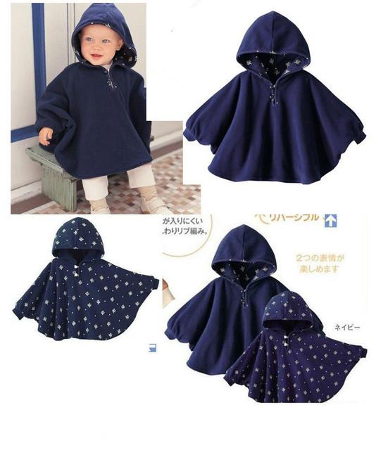 100% nuevo 2017 fleece combi bebé abrigo bebé capa doble cara outwear floral bebé infantil del bebé del poncho del cabo escudo niños clothing