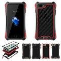 -Apenas r amira ao ar livre tpu à prova de choque de metal fibra de carbono temperado vidro da tampa do caso para o iphone 7 4.7 iphone7 plus 5.5 original