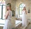 Чешский Кружева Пляж Свадебное Платье 2017 Robe de Mariage Sexy V-образным Вырезом Замочная Скважина с Открытой Спиной Boho Свадебные Платья Хиппи Свадебные Платья